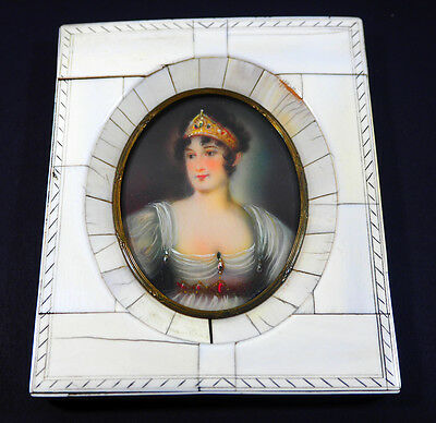 ANTIQUE FRENCH MINIATURE PORTRAIT PAINTING LADY 19th Century
