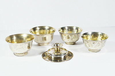 19th C ANTIQUE QING DYNASTY SILVER TEA CUPS SOLID FOR CHINESE MARKET