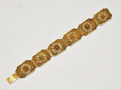 Chinese Export Silver Gilt Filigree Gold Plated Bracelet Jewelry China