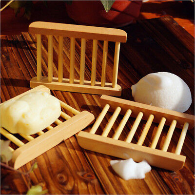 Sponge Plate Soap Dish Wood Kitchen Shower Box Holder Container Shelf Bathroom
