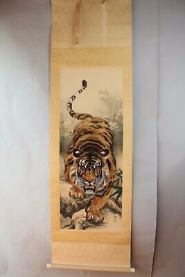 "Japanese hanging scroll Handpainted on SILK  ""Tiger """