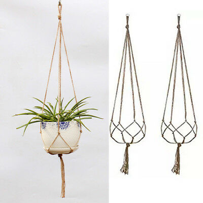 Planter Flower Pot Green Plant Hanging Rope Basket Handcrafted Braided Hanger
