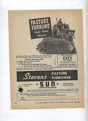 Stevens Pasture Furrower Advertisement from 1952 Farming Magazine Tractor