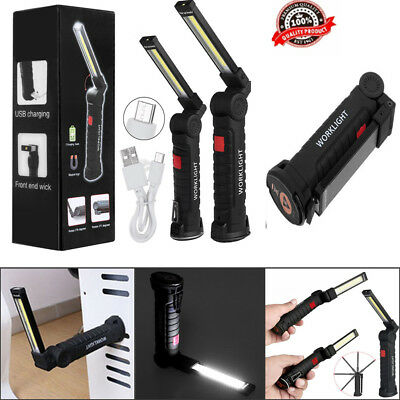 LED COB Light Rechargeable Magnetic Torch Inspection Lamp Cordless Work Light US