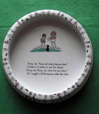 c1930 Shelley Baby Plate Hilda Cowham Art Deco Dogs Cat Queen Poem