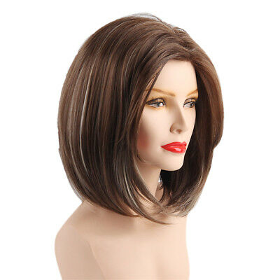 Women Side Parting Bob Wig Synthetic Full Hair for Cosplay Party Mix Brown