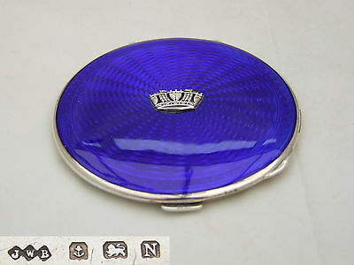 RARE George V HM STERLING SILVER & ENAMEL COMPACT 1937