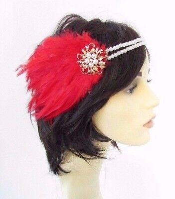 Red Gold Cream Pearl Feather Headpiece 1920s Headband Flapper Great Gatsby 4630