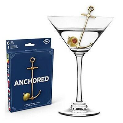 NEW! 6 Anchors Away Cocktail Picks Martini Sailing Beach Lake Gold Set of 6