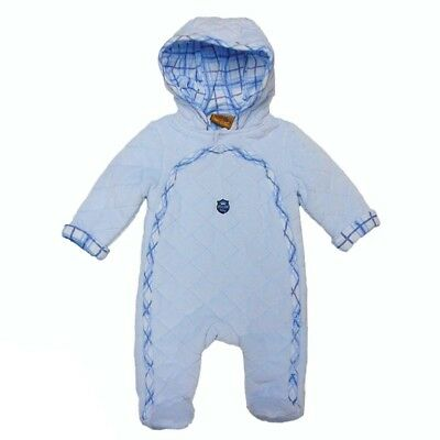 Baby Boys Blue fluffy winter snowsuit pramsuit 0-3-6-9 months gift new all in 1