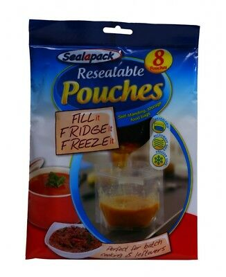 14 Pouches Resealable Reusable Self standing storage fridge food juice soup bags