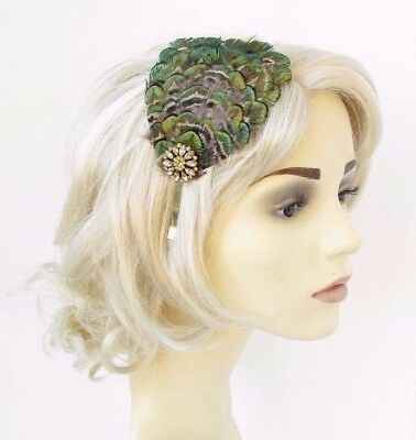 Gold Olive Green Brown Peacock Feather Fascinator Headband Races Headpiece 4639