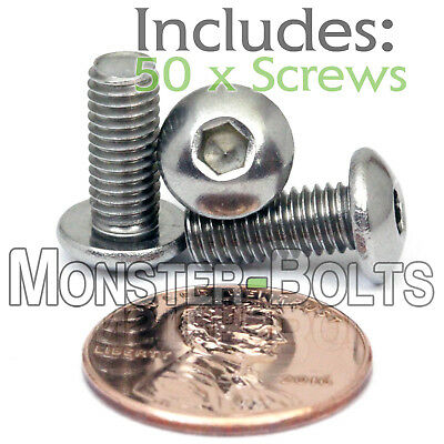 5mm x 0.80 x 12mm - Qty 50 - A2 Stainless Steel BUTTON HEAD Screws  M5-0.8 x 10