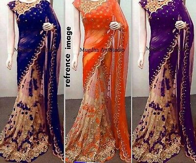 INDIAN ETHNIC WEDDING DESIGNER SAREE PAKISTANI PARTY WEAR BOLLYWOOD SARI sa1