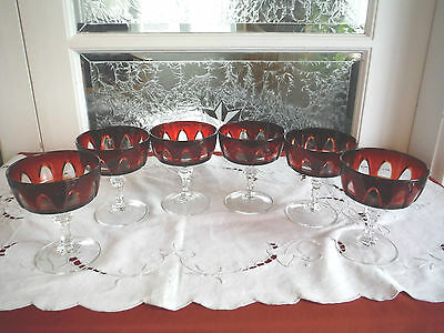 Ruby Red Gothic Arch Crystal D'arques, 6 Dessert Cups