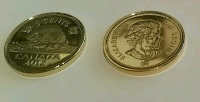Canadian gold plated nickel 5 cents coin new unc 2012 nickle layered 5c CANADA
