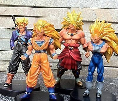 "Dragon Ball Z Super Saiyan 5"" Action Figures Set Goku Broly Vegeta Trunks 4pc"