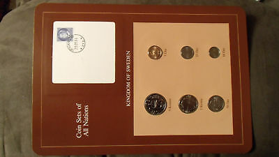 Coin Sets of All Nations Sweden w/card UNC 5,1 Kronor 5,10,25,50 Ore 1983