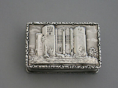 Victorian Silver Castle-Top Vinaigrette 'Kenilworth Castle Keep', F Clarke, 1841