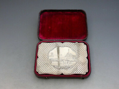 Cased Queen Victoria on Horse Back Calton Hill Edinburgh Silver Card Case 1842
