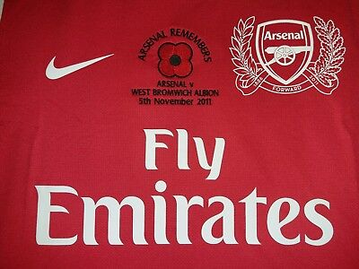 f870cf7f6 Arsenal NIKE 2011-12 EPL Remembrance (v West Bromwich) Home Player-issue