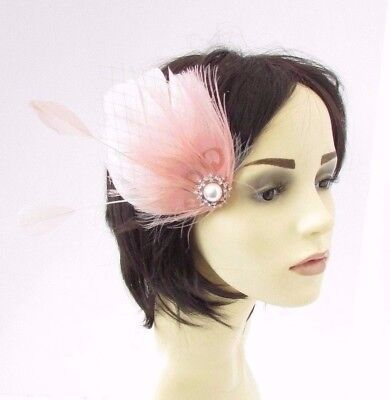 Blush Light Pink Silver Feather Fascinator Hair Clip Races Wedding 1920s 4647