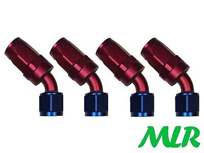 Mlr An -10 Jic 45° Degree Red Blue Oil Cooler Remote Filter Hose Pipe Fittings