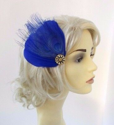 Royal Blue Gold Feather Fascinator Hair Clip Races Wedding 1920s Headpiece 4650
