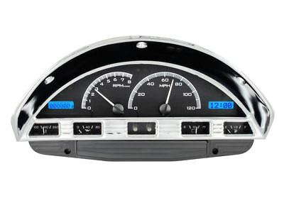 Dakota Digital 1956 Ford PU Gauges Black Alloy Face~Blue Display VHX-56F-PU-K-B