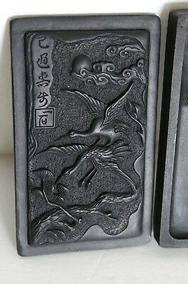Antique Ink Stone With 2 Cranes And Pine Tree