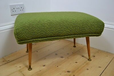 VINTAGE 1950s GREEN ACRYLIC WOOL FOOT STOOL REST OTTOMAN ENGLISH MADE