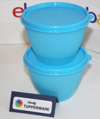 TUPPERWARE Bowls Lot of 2 Stackable Set 14 oz Matching Seals Blue # 148 NOS