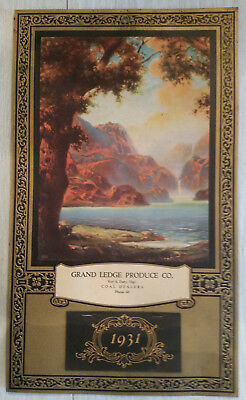 Antique 1931 Advertising Calendar GRAND LEDGE PRODUCE CO Roy S Doty Mgr.