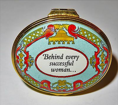 "Halcyon Days Enamel Box - ""behind Every Successful Woman ... Is Herself"""