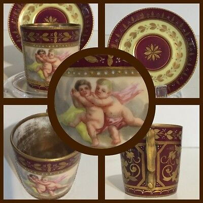 Antique Royal Vienna Demitasse & Saucer - Putti - Cherubs - Gold Wash Interior -