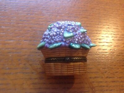Vintage Porcelain Basket with flowers Limoges trinket box February Violet