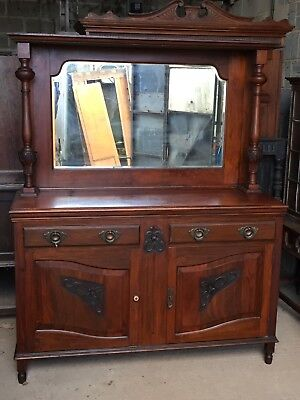 Mahogany and other wood traditional Sideboard with glazed / glass top
