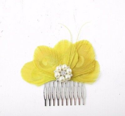 Yellow Silver Peacock Feather Hair Comb Fascinator 1920s Flapper Vintage 4657