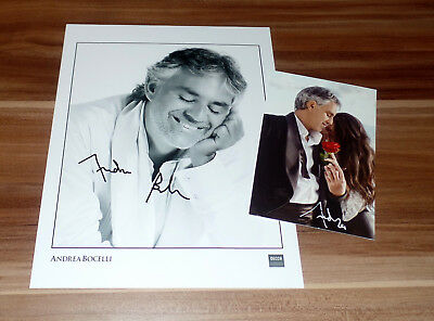 Andrea Bocelli *Klassik Tenor Italia, original signed Photo 20x25 cm (8x10) + AK