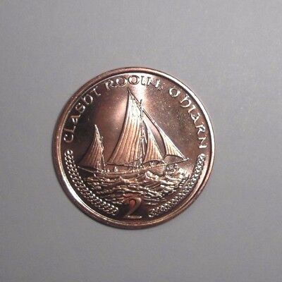 Isle of Man 2 Pence 2000-2003 sail boats 26mm copper steel km1037