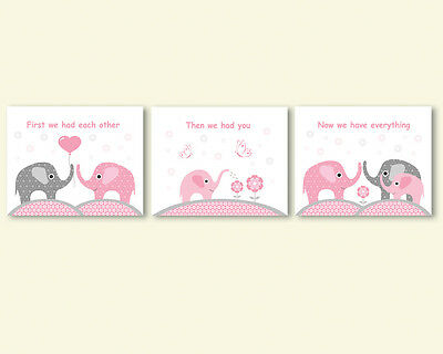 3 prints, art for baby girl nursery, room wall decor - elephants family, quote