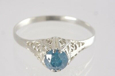 Antique Art Deco 1920's 14k White Gold Blue Diamond Filigree Engagement Ring