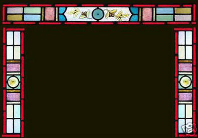 3 Antique Stained Glass Painted Windows VICTORIAN ENTRY