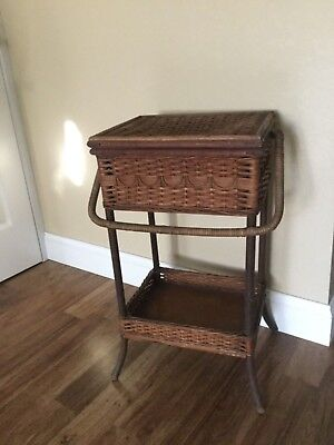 Antique Natural WICKER Rattan SEWING BASKET STAND Heywood Wakefield?