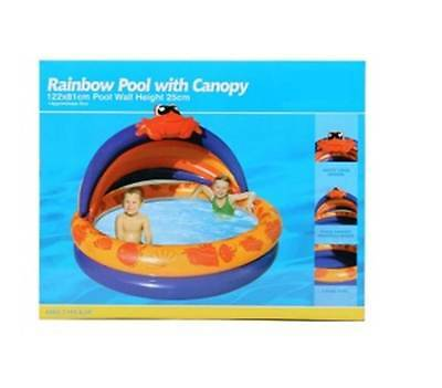 Clark Rubber Rainbow Inflatable Kids Pool with Canopy 122 x 81cm