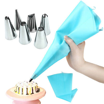 Silicone Icing Piping Cream Pastry Bags +6 Nozzle Sets DIY Cake Decorating Tools