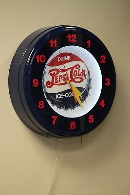 "20"" Pepsi Cola Neon Light Wall Clock Drink Ice Cold"