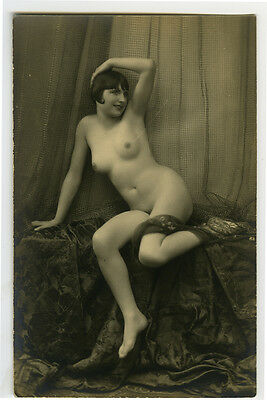 1920s French Nude SHAPLEY FLAPPER risque deco photo postcard