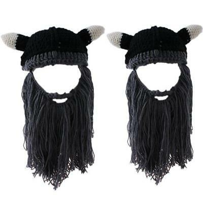 Viking Wizard Mask Ski Cap Crochet Knit Hat With Bearded Winter Hat LJ