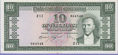 Turkey 10 Lira Banknote,(1960) About Uncirculated Condition Cat#159-4548